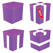 Purple gift box illustration — Stok Vektör