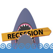 Recession with shark color vector — Stock Vector