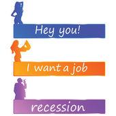 Recession or job color vector — Stock Vector