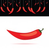 Red chili peppers vector illustration — Stockvector