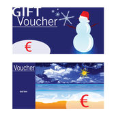 Voucher for winter and summer with snowman and beach — ストックベクタ