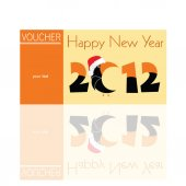 Voucher orange for 2012 with parrot vector illustration — ストックベクタ