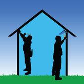 Arbetstagare reparera huset vektor illustration — Stockvektor