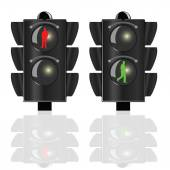 Traffic lights for pedestrians with red and green man — Vetorial Stock