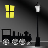 Tram with street light color vector illustration — Stock Vector