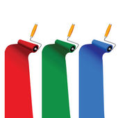 Paint roller in three color vector illustration — Stockvector