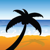 Palm on the beach color vector — Stok Vektör