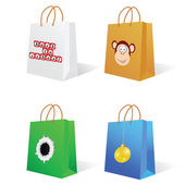 Paper bag with an illustration on it — Stock Vector