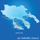 Peninsula of Halkidiki in Greece map — Stockvektor