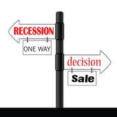Recession or decision signboard color vector — Stock Vector