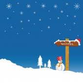 Snowman and winter idyll color vector — Stockvektor