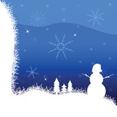 Snowman and winter vector illustration — Stock Vector