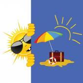Sun and beach art vector illustration — Wektor stockowy