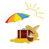 Sun and beach stuff art vector — Stock Vector