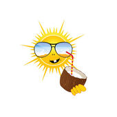 Sun drink coconut milk vector illustration part two — Stock Vector