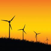 Windmill black silhouette on sunset illustration — Stockvector