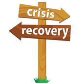 Wooden signpost for the crisis and recovery — Stock Vector