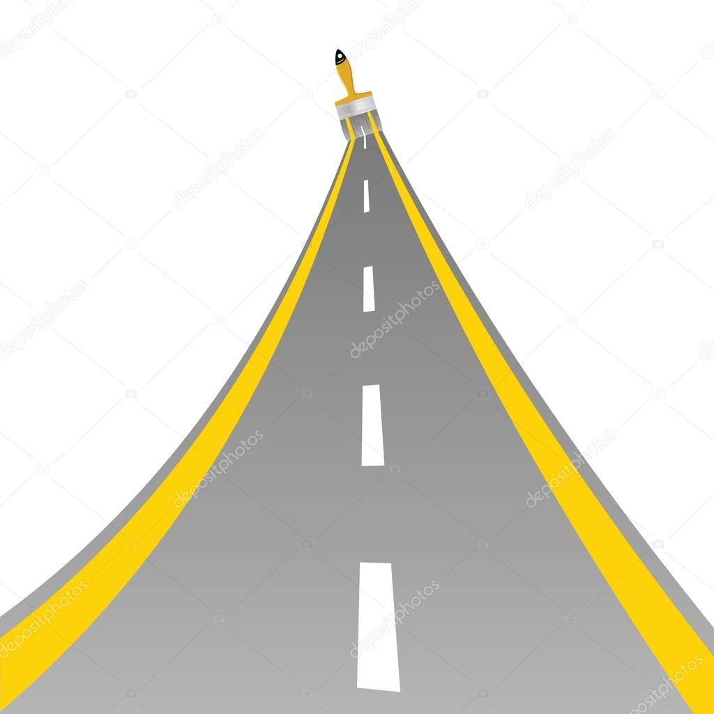 路用油漆刷艺术矢量图– 图库插图