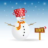 Snowman with red hat and wooden sign vector — Stock Vector