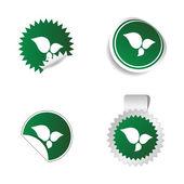 Aufkleber grüne Farbe mit weißen Blatt Vektor — Stockvektor
