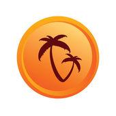 Sticker palm orange vector — Stock Vector