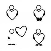 Heart set black vector silhouette — Vettoriale Stock