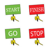 Start and finish signboard color vector — ストックベクタ