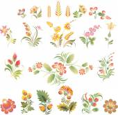 Set of vector flowers in Ukrainian folk style — Stock Vector