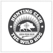 Vector hunting club emblem with a wild hog — Stock Vector