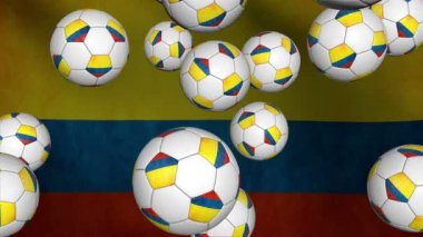 Soccer balls falling on flag — Stock Video