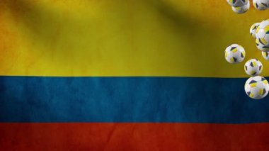 Colombia soccer balls flying on flag backgorund — Stock Video