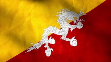National flag of Bhutan — Stock Video