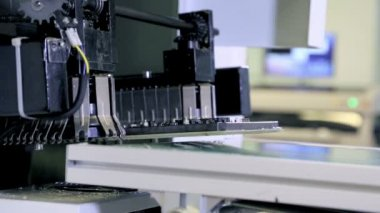Factory assembly line production of PCBs — Stock Video