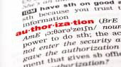 Word authorization in dictionary — Stock Photo
