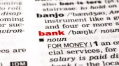 Word bank in dictionary — Stock Photo