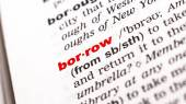 Borrow Word in dictionary — Stock Photo