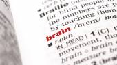 Word  brain in dictionary — Stock Photo