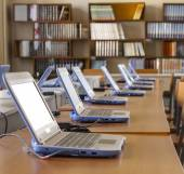 Group of laptops in office — Stock Photo