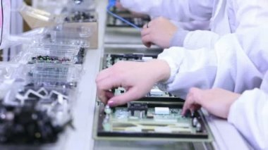 Building Circuit Boards in Electronics Factory — Stock Video