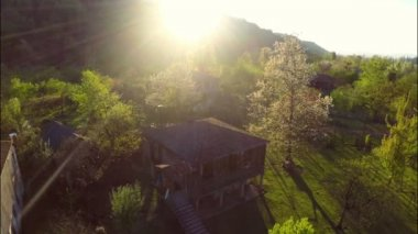 Green trees around rustic houses — Stock Video