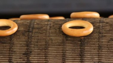 Baked bagels on production line — Stock Video
