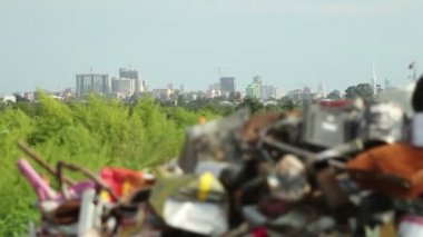 Garbage dump with Batumi city on background — Stock Video