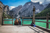 Boathouse at the Lago di Braies in Dolomiti Mountains — Stock Photo