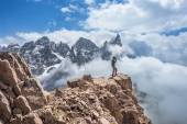 Hikers on Alps Mountain Trail — Stock Photo