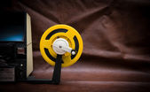 8mm movie editing desktop with editing machine part and yellow r — Stock fotografie