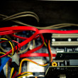 Old dusty pc motherboard cable detail vintage color effect — Stock Photo #70943813