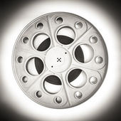 Theater cinema movie reel for 35mm film black and white — Stock Photo