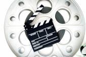 元古い大きなリール 35 mm 映画映写クラッパーと — ストック写真