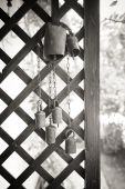 Old cow bell decoration black and white — Stock Photo