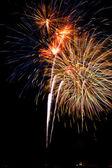 Firework streaks in the night sky. — Stock Photo